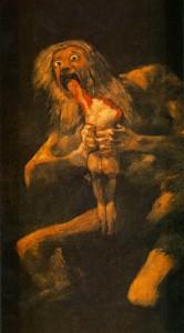 Saturno/Cronos devorando um filho. Francisco de Goya, 1819-1823. Óleo sobre reboco transladado a tela 146 cm × 83 cm cm.
