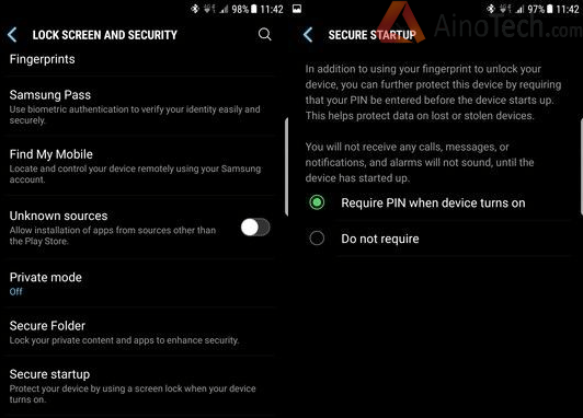 PIN in Secure startup samsung s8