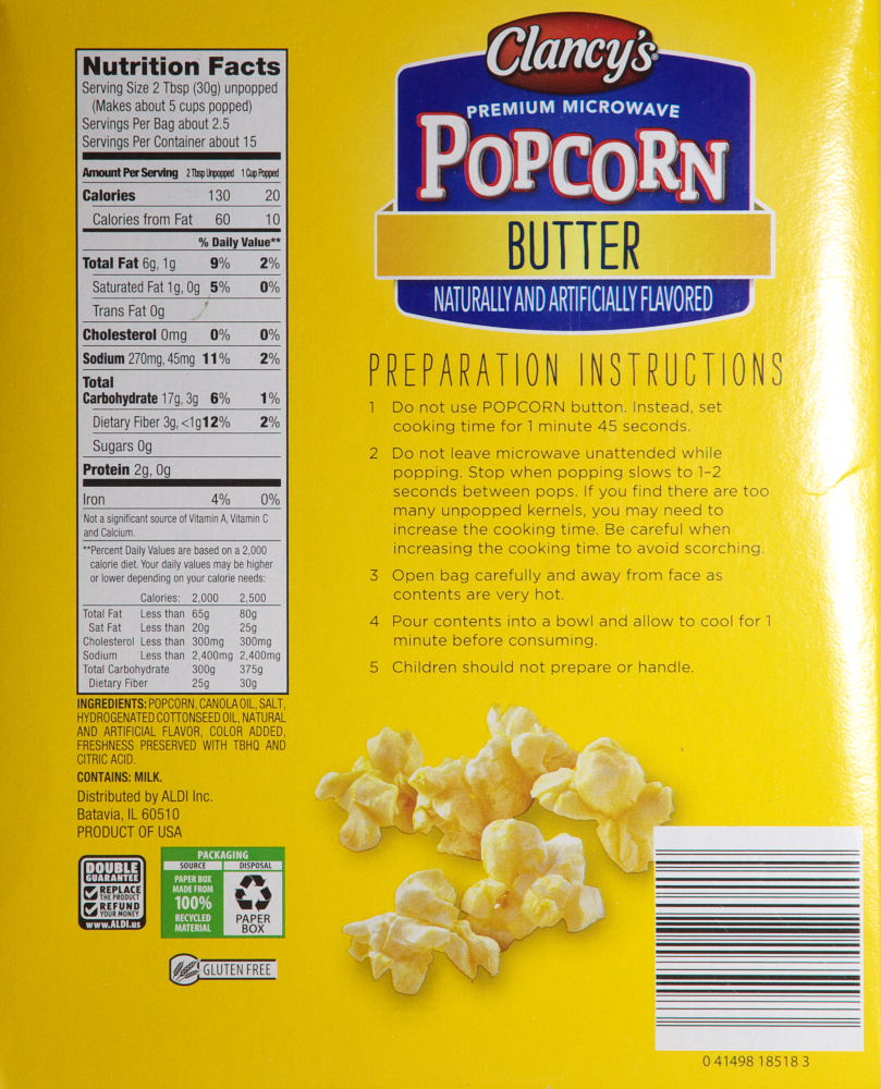 microwave butter popcorn food
