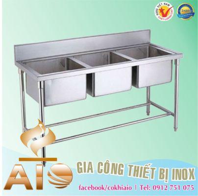 bon rua inox 3 chau 404x400 - Thiết kế bếp công nghiệp