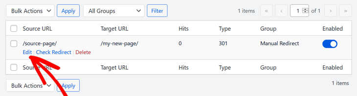 Editing redirect in All in One SEO