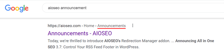 announcement category search results on google