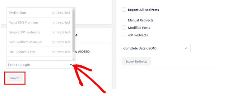 choose plugin to import redirects in aioseo