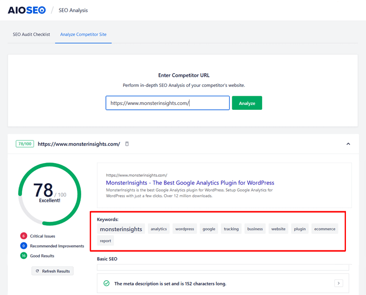 competitor keyword analysis in all in one seo