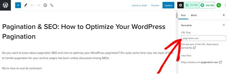 editing permalink in wordpress