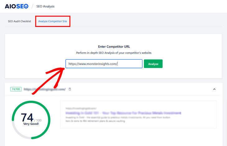 enter competitor url in all in one seo