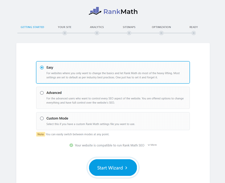 rank math setup wizard