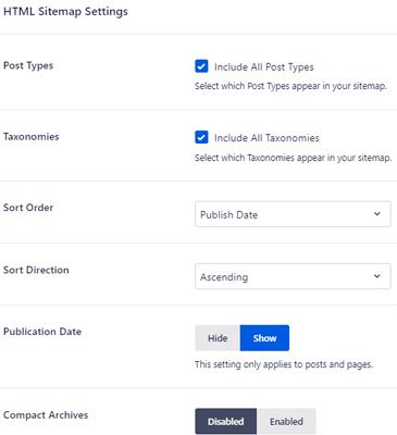 HTML Sitemap Settings