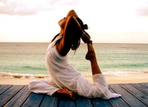 Iyengar Yoga practiced by the beachfront