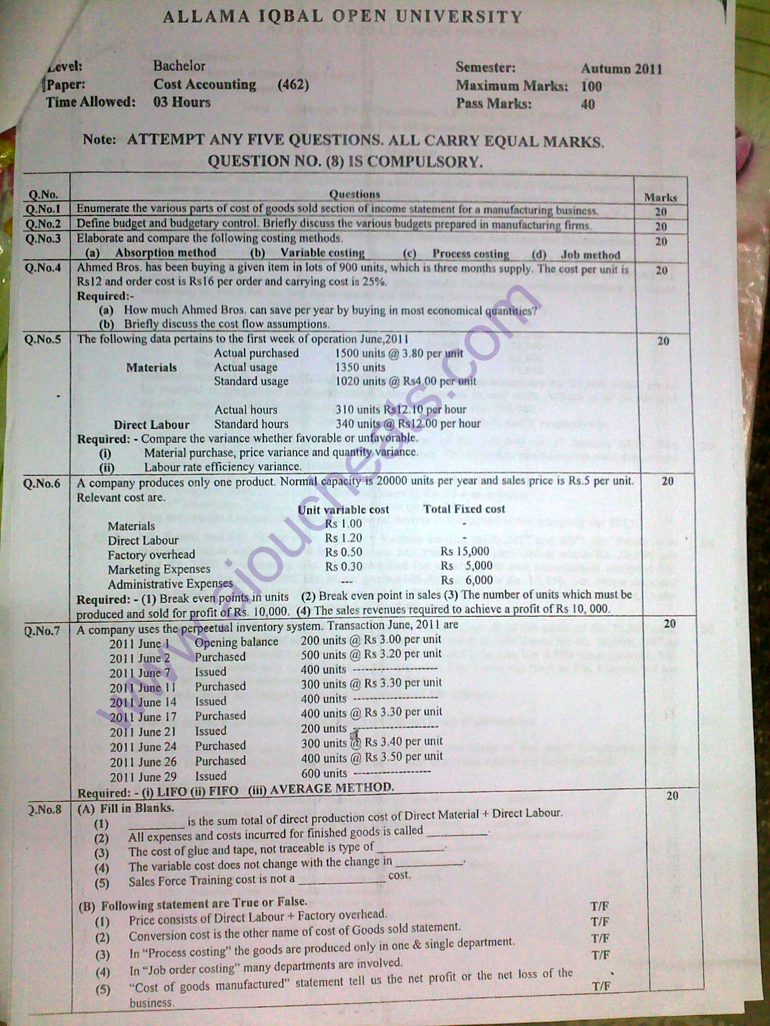 Aiou Old Papers Of Autumn 2011 Bachelors Ba Bsc B Com