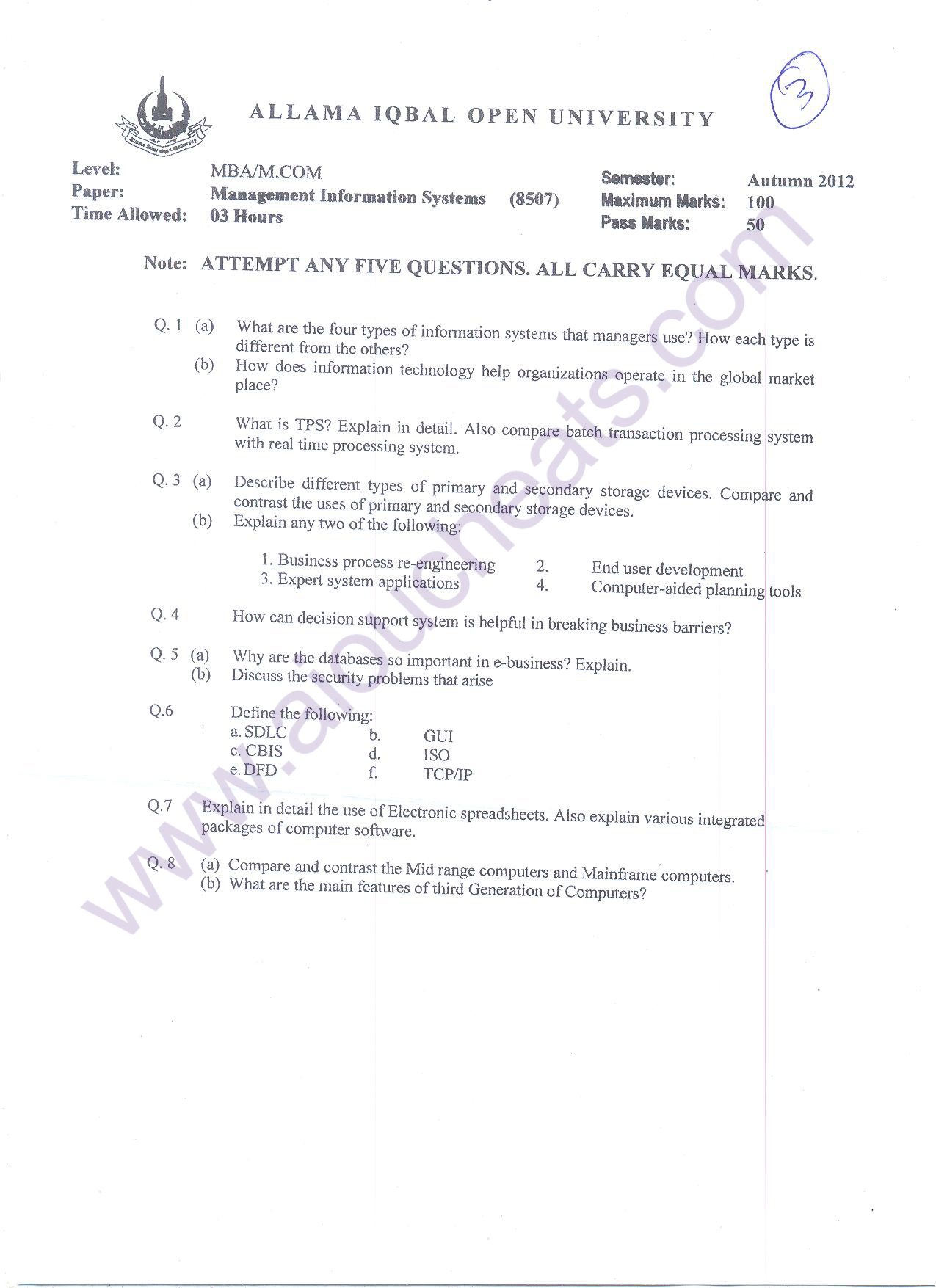AIOU Old Papers Autumn 2012 MBA , COL MPA, MLIS , AIOU MBA