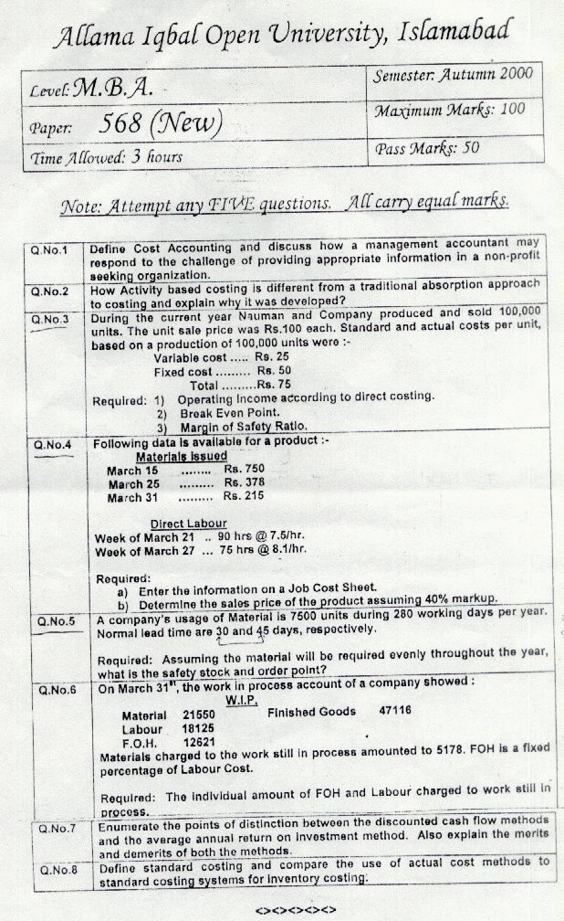 Aiou mba: Cost and Management Accounting Old Papers