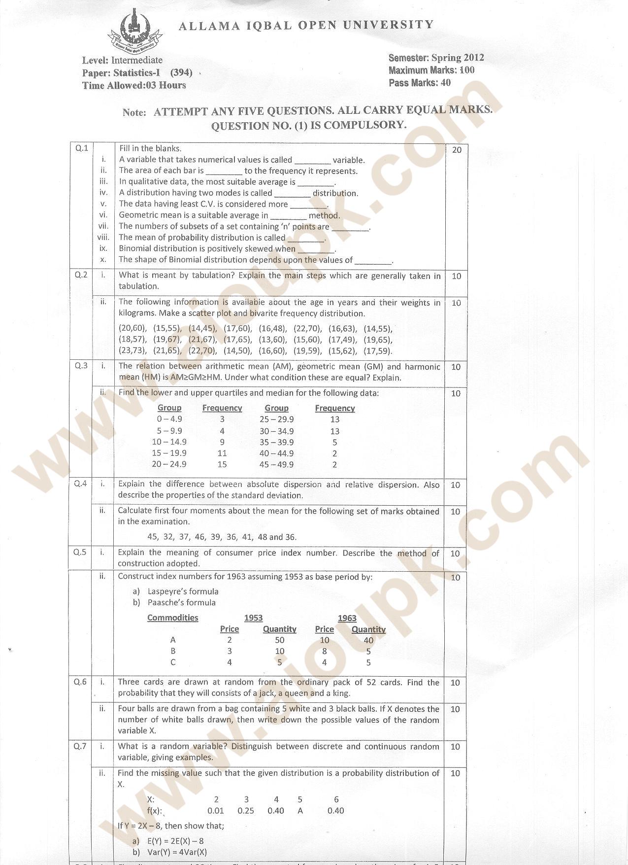 Statistics-I Code 394 Level Intermediate (I.Com / F.Sc