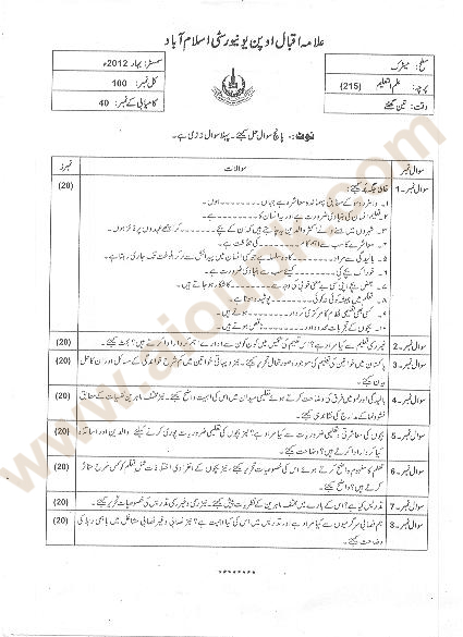 Education Code 215 Level Matric, Old Paper of AIOU Spring 2012