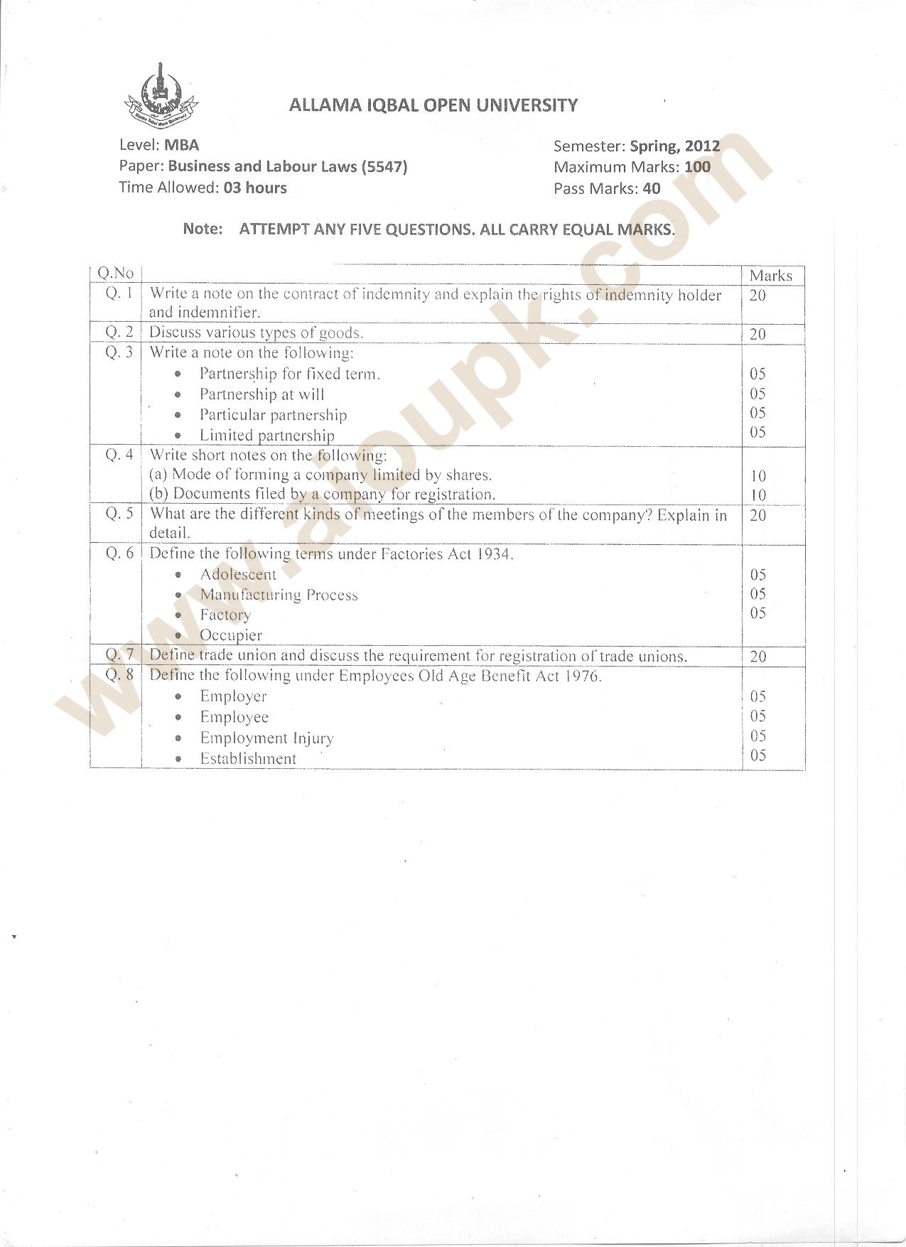 Business and labour Laws Code 5547, Level MBA, AIOU Old Paper