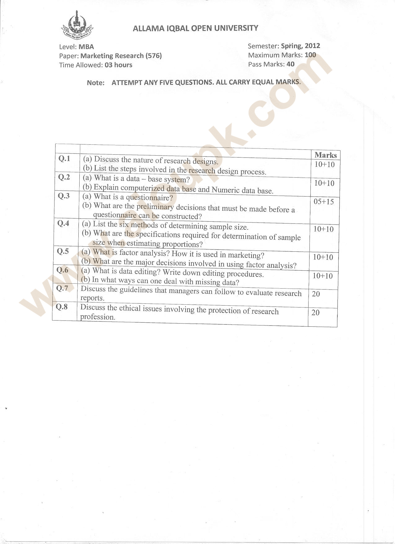 Marketing Research Code 576 Level MBA, AIOU Old Paper