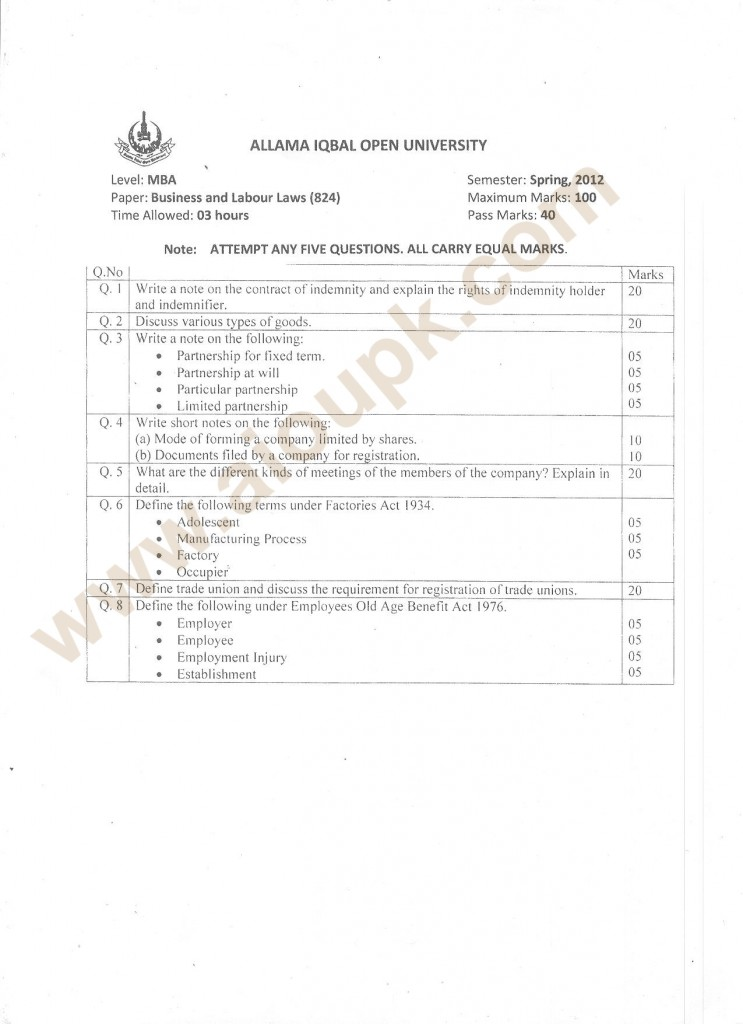 Business and Labour Laws Code 824, Level MBA Old Paper of aiou