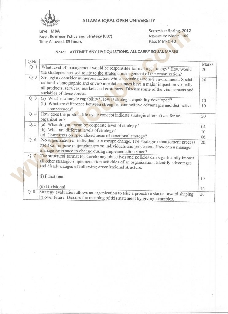 Business Policy and Strategy Code 887, Level MBA, AIOU Old