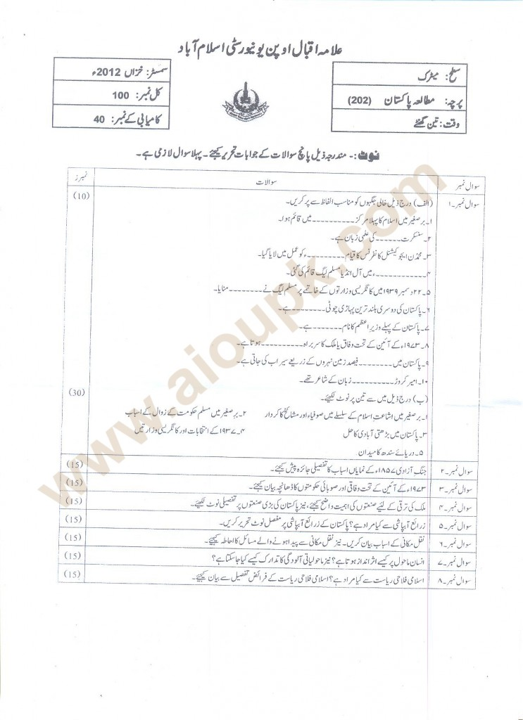 AIOU Old Paper Code 202 Pakistan Studies Matric