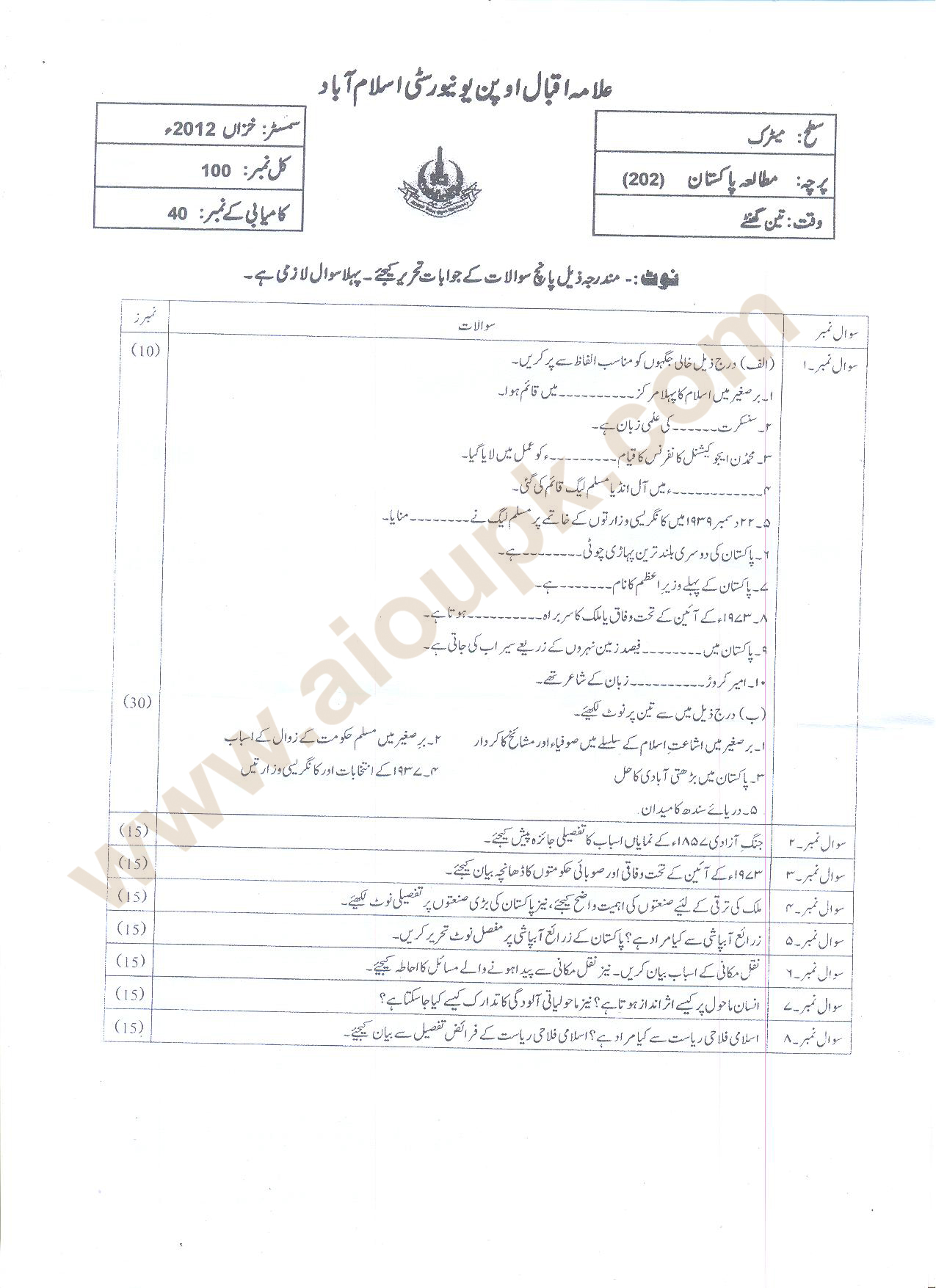 AIOU Old Paper Code 202 Pakistan Studies Matric