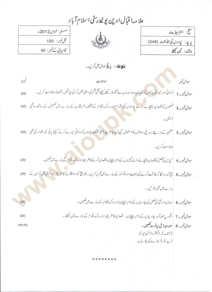 AIOU Past Papers Code 349 Course: Plant Protection FA