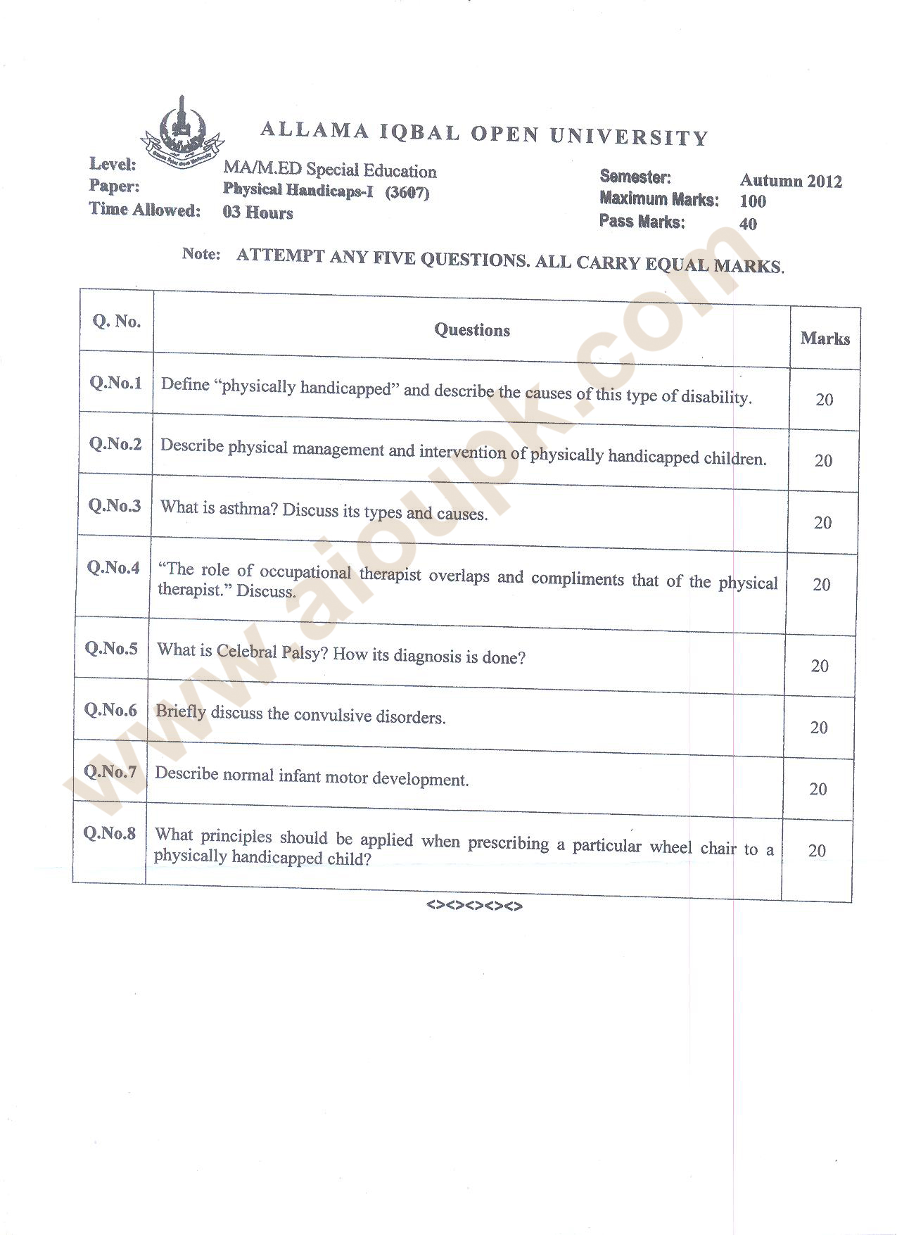 Physical Handicaps-I Code 3607 AIOU Old Papers