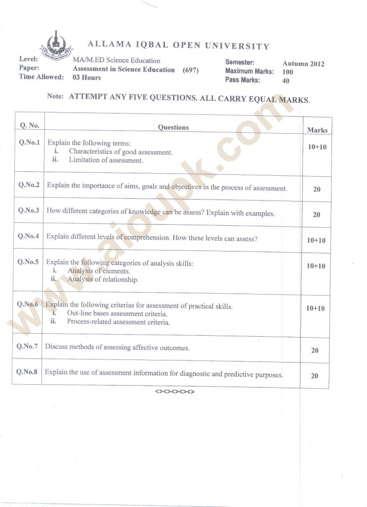 Assessment in Science Education Code 697 M.Ed/MA AIOU Old