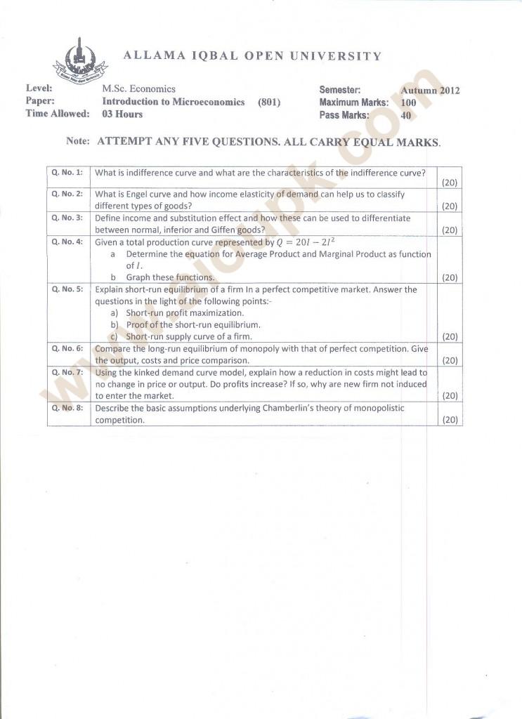 AIOU Past Papers of M.Sc Economics Code 801 Course