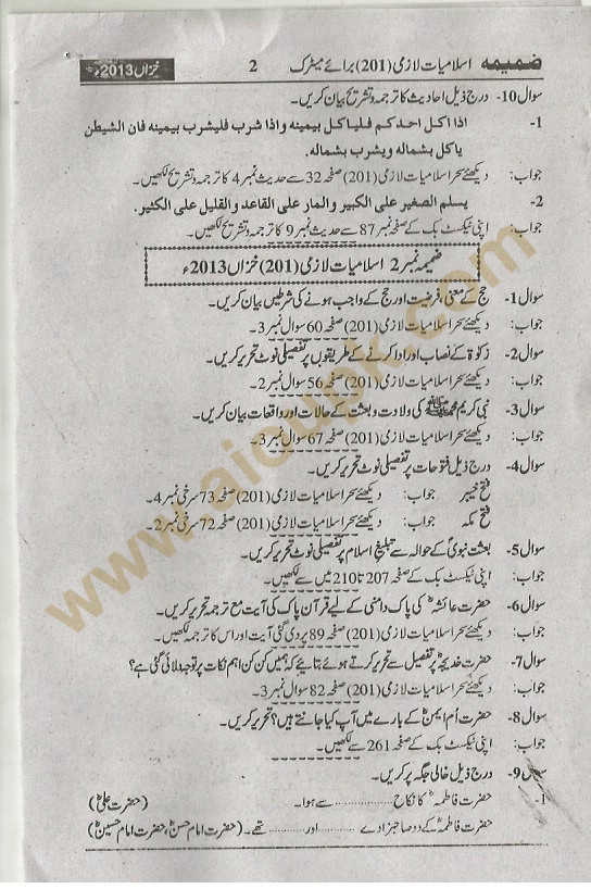 Islamic Studies Compulsory Code 201 Matric AIOU Free