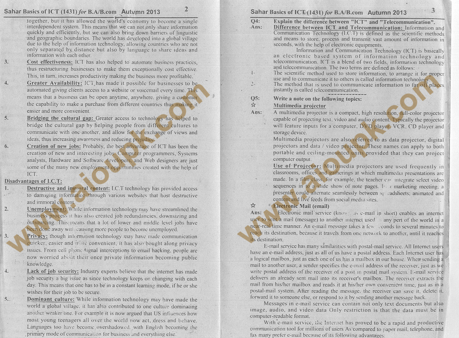 Basics of ICT Code 1431 BA / B.Com Solution of Assignment