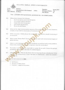 Code 1421 AIOU Old Papers BA Spring 2013