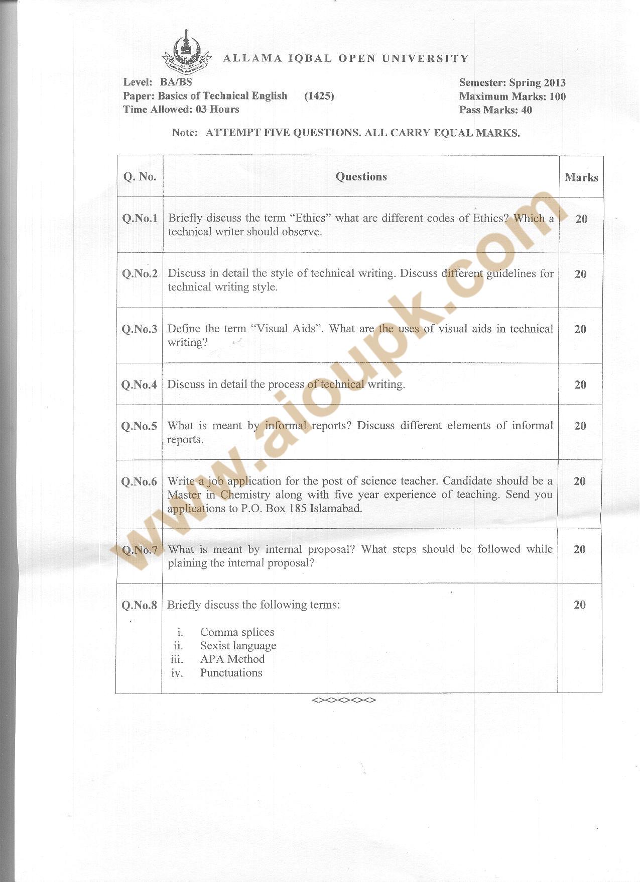 Code Aiou Old Paper Basics Of Technical English Writing English Iii Ba Spring
