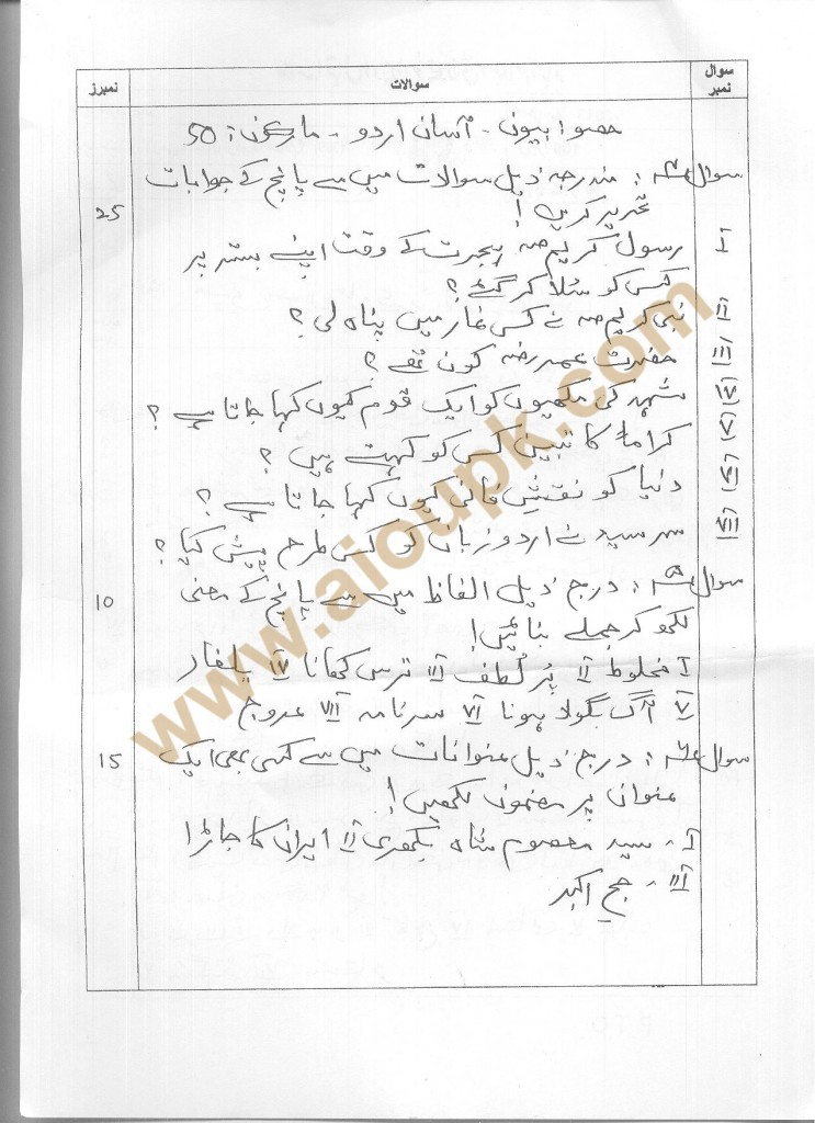 Sindhi Compulsory & Easy Urdu-II Code 399