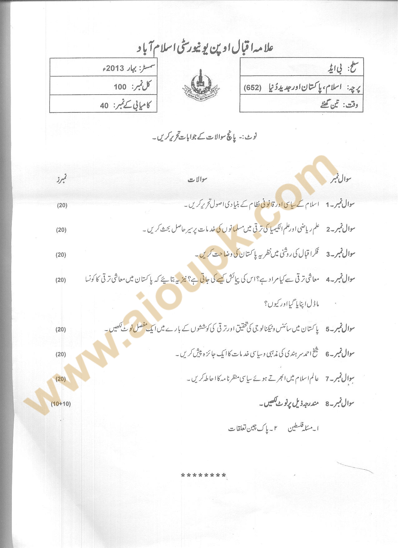 AIOU Old Paper Code 652 Course : Islam Pakistan and Modern