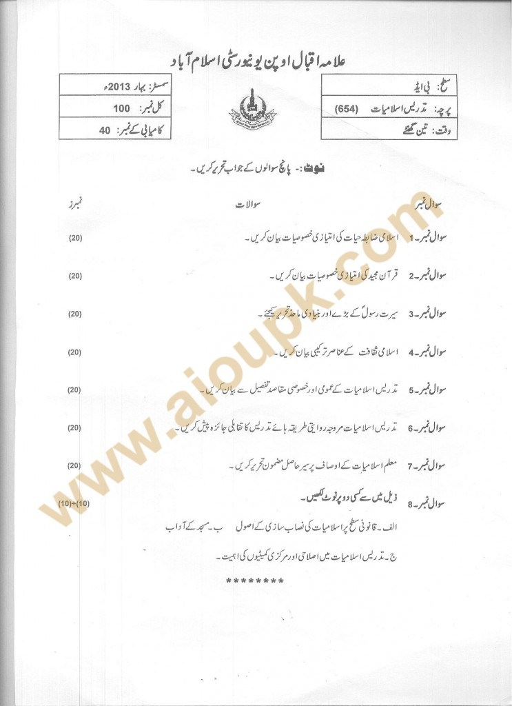 Teaching of Islamic Studies Code 654 B.Ed