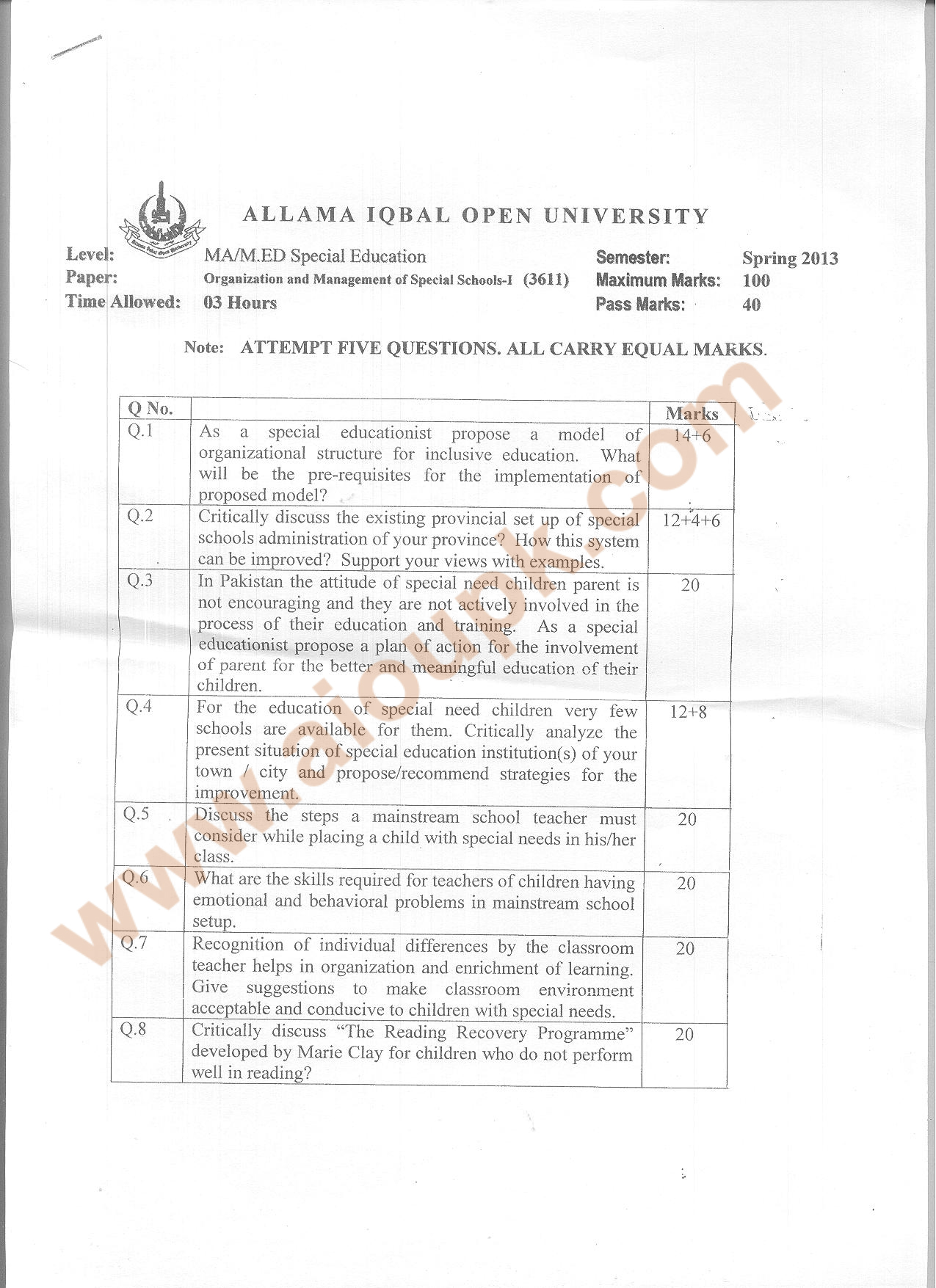 Organization Amp Management Of Special Schools Code Aiou Old Papers