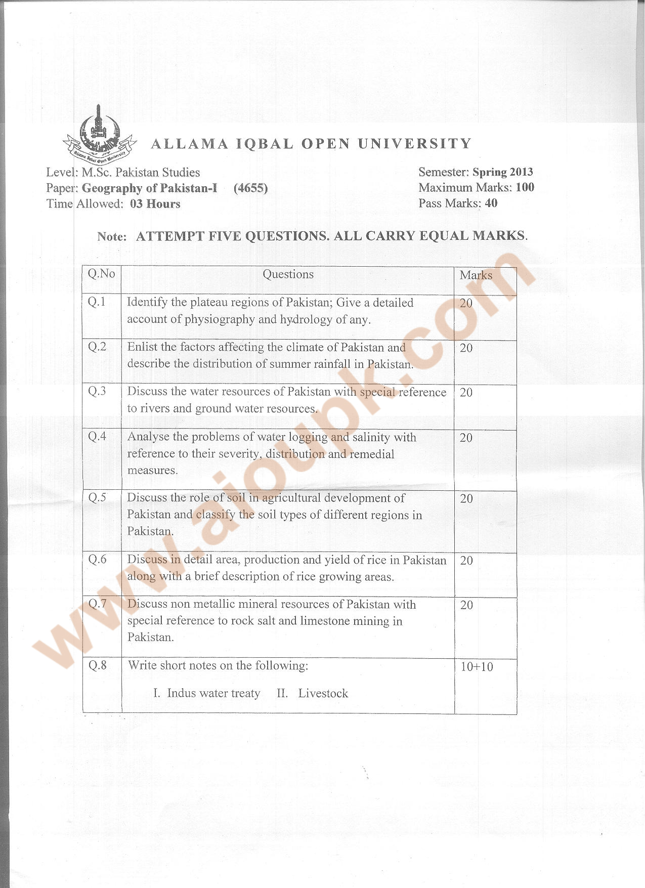Geography Of Pakistan Part I Code Aiou Old Papers Spring