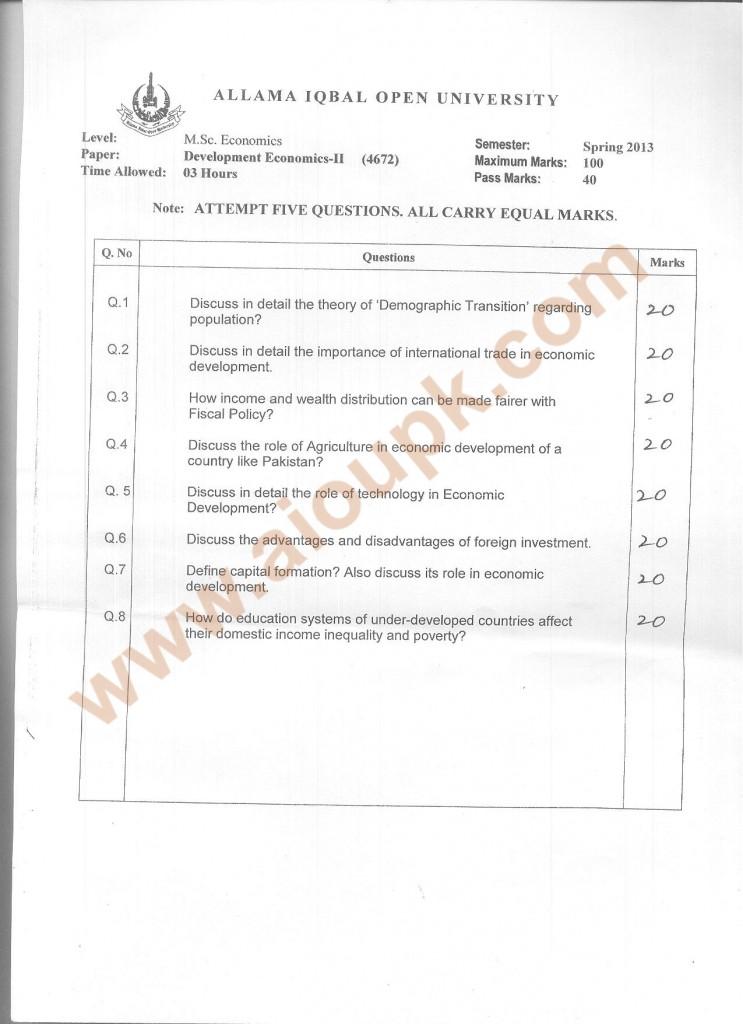 Development Economics Part-II Code 4672 M.Sc