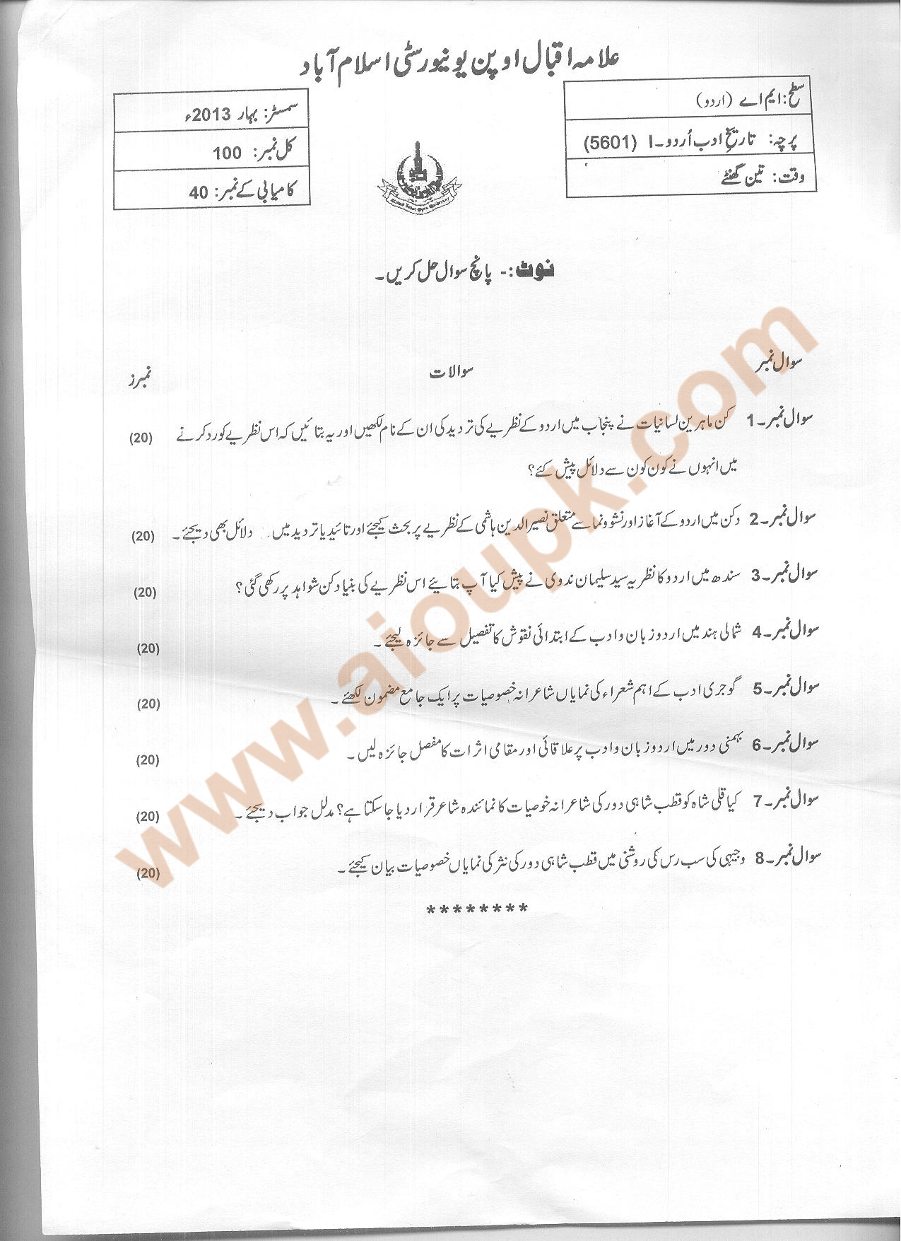 Code 5601 History of Urdu Adab Part 1 AIOU Old Paper