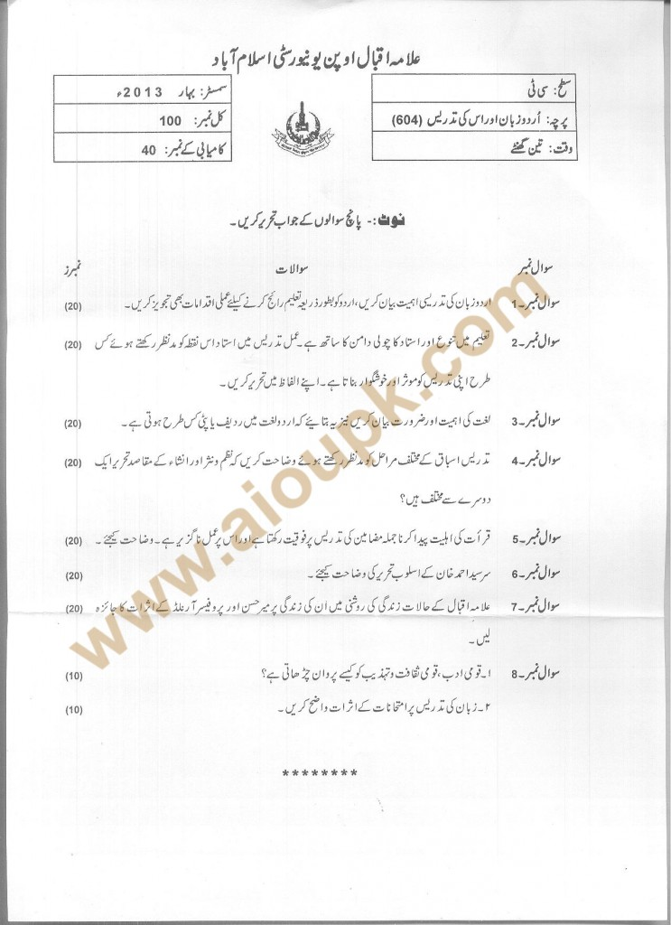AIOU CT Past Papers Code 604 Urdu and its Teaching