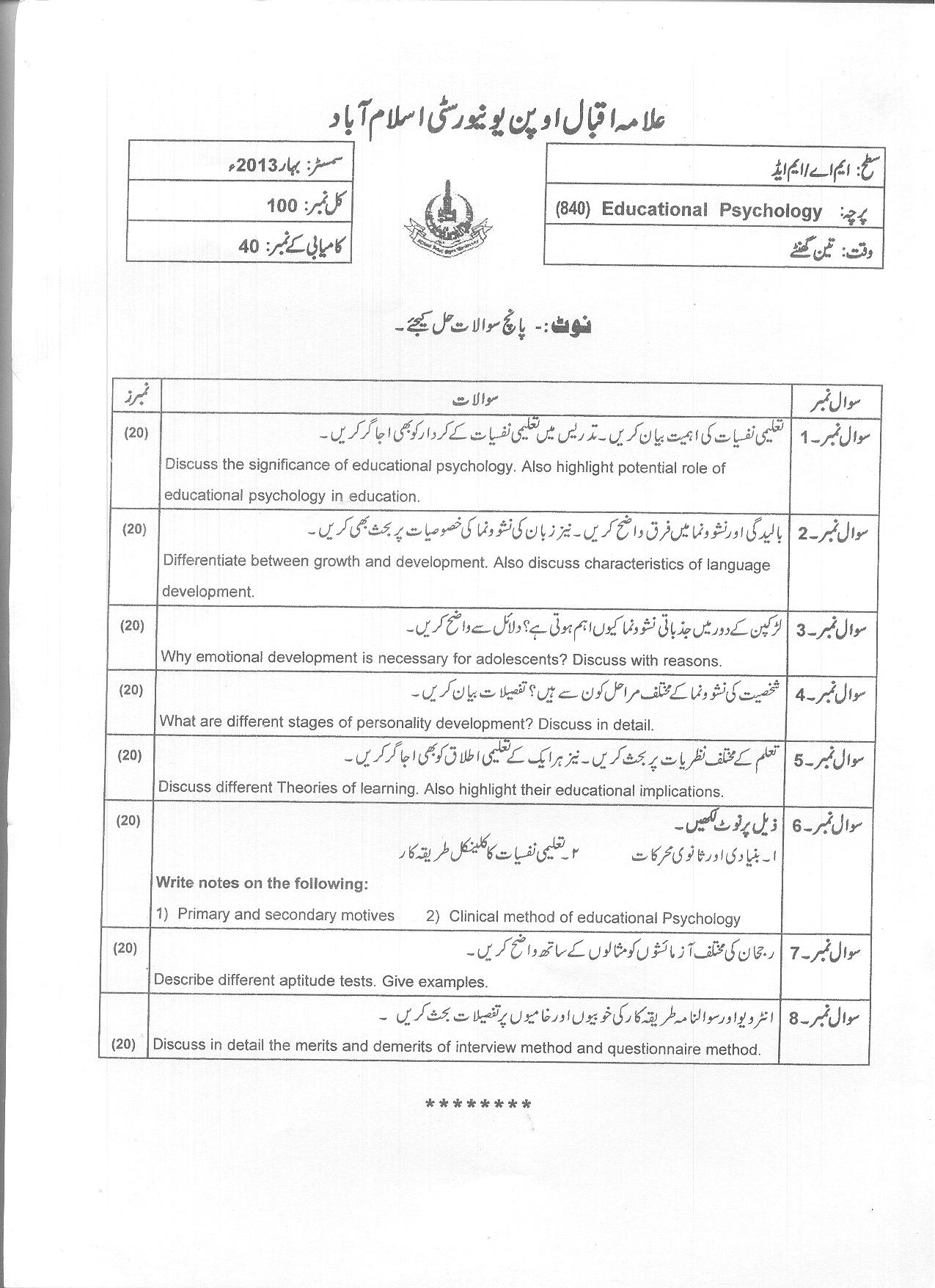 Educational Psychology Code 840 Ma M Ed Aiou Old Papers Spring