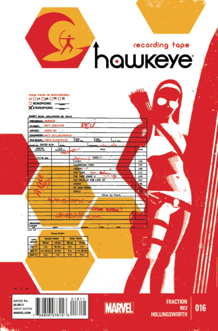 Boy, wasn't Hawkeye #15 great? Oh right, it didn't come out yet. So... here's Hawkeye #16! Yay! David Aja needed some more time to finish the art on #15, so artist Annie Wu stepped in to get #16 out to us early before we go into Hawkguy withdrawal. Luckily writer Matt Fraction, who's been playing with nonlinear storytelling since the first issue, has been spending the past few issues telling alternate stories of Cliff Barton and Kate Bishop, so Hawkeye #16 shouldn't be any more confusing. But is it good?