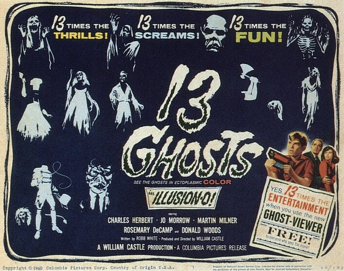 """The 1950s was an era for """"cinema gimmickry,"""" assaulting audiences with interactive fads like 3D glasses or that thing House on Haunted Hill did with the skeleton puppet on the zip-line. But much like Smell-o-Vision, the """"Ghost Viewer"""" (a byproduct of """"Illusion-o"""") was sort of a straggler from that time period, having been attached to a film released in 1960. Although I felt the gimmick hindered the film more than helped it (but more on that later), 13 Ghosts still has enough positive qualities to make it one of the better haunted house flicks of the era."""