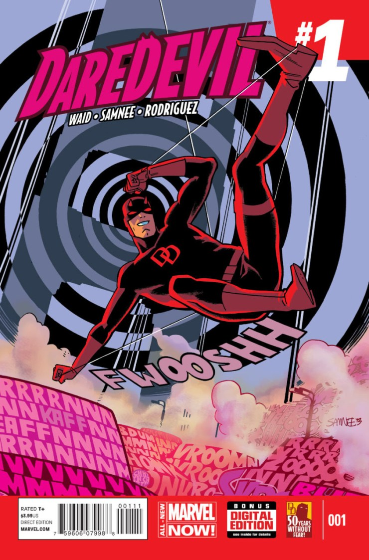 """Like a whole bunch of recent titles, Mark Waid's beloved Daredevil series was subject to the """"All-New Marvel NOW!"""" treatment. This means it was arbitrarily cancelled a few weeks ago only to be started up with a juicy #1 on the cover this week."""