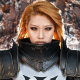 Steel-clad Tasha from Spiral Cats looks ready to crush the minions of Hell in her menacing, titanic Crusader armor.