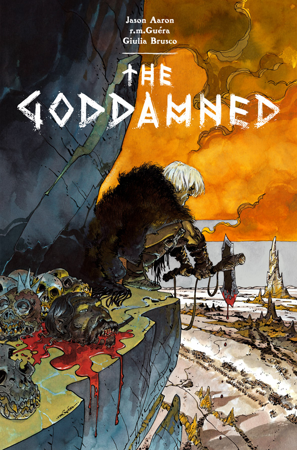 According to the Bible, it's all Cain's fault for inventing murder. He gets credit for committing the first one and he had the gall to do it to his brother. God punished him making him wander the Earth, forever alone. The story ends there, but what if it didn't? Writer Jason Aaron explores that in this new series: The Goddamned.