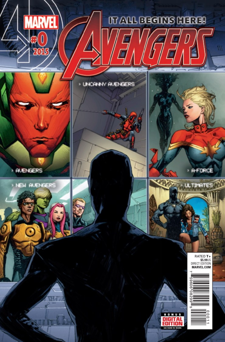"""Avengers #0 is a prologue of sorts to the lineup of Avengers (and Avengers-adjacent) titles launching from """"All-New, All-Different Marvel"""", the latest in a line of rebranding efforts that Marvel has attempted in the past few years. This all-star anthology issue (of sorts) features a """"Squadron Supreme"""" framing story by James Robinson and Leonard Kirk, a Scarlet Witch/Vision story by Mark Waid and Mahmud Asrar, a Deadpool story by Gerry Duggan and Ryan Stegman, a New Avengers story by Al Ewing and Gerardo Sandoval, a Captain Marvel/Alpha Flight story by G. Willow Wilson and Victor Ibanez, and an Ultimates story by Al Ewing (again) and Kenneth Rocafort. Is it good?"""