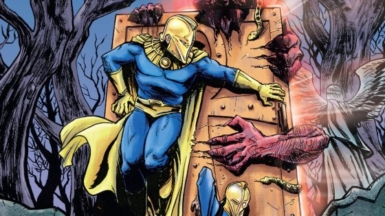 """Kent Conrad, the original Doctor Fate, has come to New York to try to assist the newest bearer of the power, Khalid Nassour, in learning how to use and control it. But when their lessons lead to an Efreet emerging through a portal and lighting New York afire, Khalid and Kent must defeat it and take it back to where it came from.  But when the smoke clears, will one of them be stuck on the wrong side?"""""""