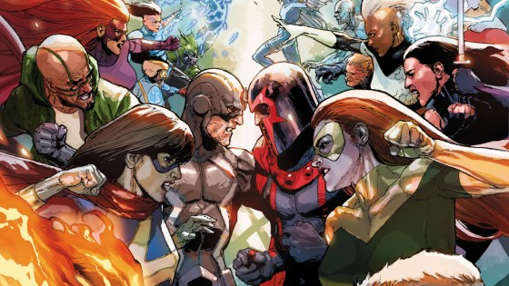 Two super-powered races clash this December as Mutantkind and Inhumanity collide with the fates of their species at stake! Prepare for battle as Charles Soule (Uncanny Inhumans), Jeff Lemire (Extraordinary X-Men) and Leinil Yu (Secret Invasion) bring you the two groups to war in the explosive INHUMANS VS. X-MEN #1!