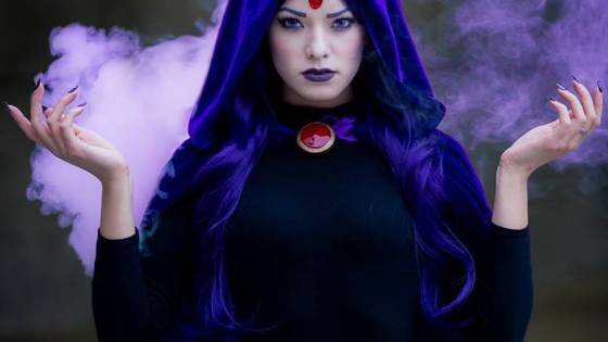 The half-demon, half-human Teen Titan mainstay, Raven, is brought to life here by model/cosplay extraordinaire Joanie Brosas -- who apparently put her real life ability to levitate to excellent use in this photoshoot: